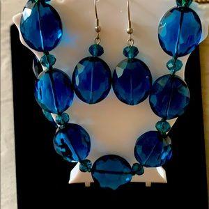 Cut glass bead necklace & earring set silvertone